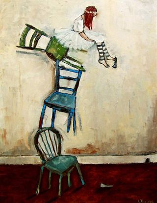 Jennifer_Yoswa_Waiting_for_the_other_shoe_to_Drop_20x16_original_oil_$650_framed